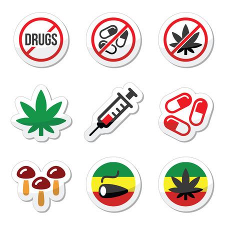 junkie: Drugs, addiction, marijuana, syringe colorful labels set Illustration