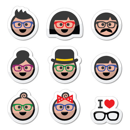 symbol people: People wearing glasses, geek labels set Illustration