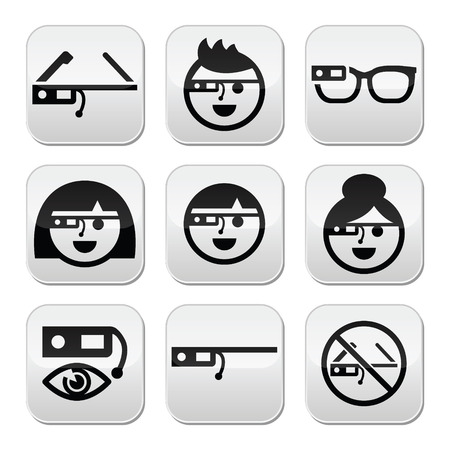 symbol people: Glass vector buttons set
