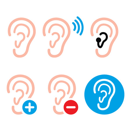 hearing: Ear hearing aid, deaf person - health problem icons set Illustration