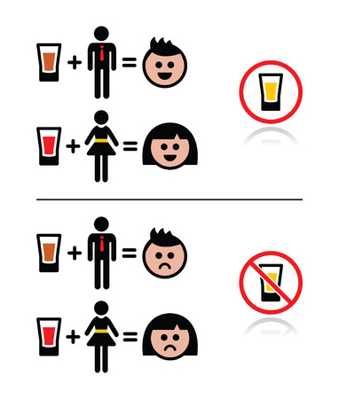 girls night out: People drinking alcohol - sad and happy face icons set
