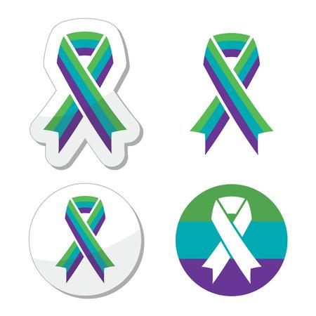kidney stone: Medullary Sponge Kidney (MSK) awareness ribbon icons set