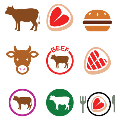 minced beef: Beef meat, cow vector icon set
