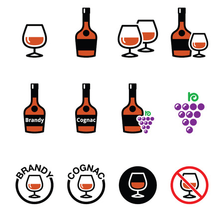 cognac: Brandy and cognac vector icons set Illustration