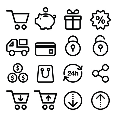non cash: Shopping, online store icons set- line, stroke style
