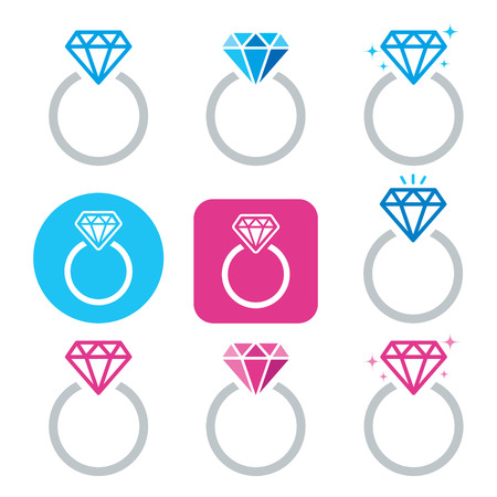 Diamond engagement ring vector icon - Valentines Day Illustration