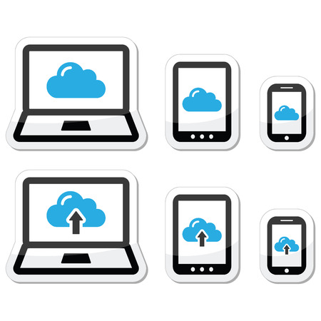 Cloud network on laptop, tablet, smartphone icons set Vector
