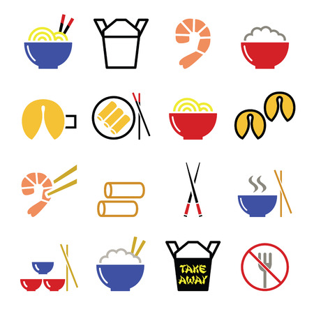 chicken rice: Chinese take away food icons - pasta, rice, spring rolls, fortune cookies