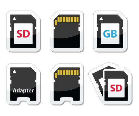 adapter: SD, memory card, adapter icons set