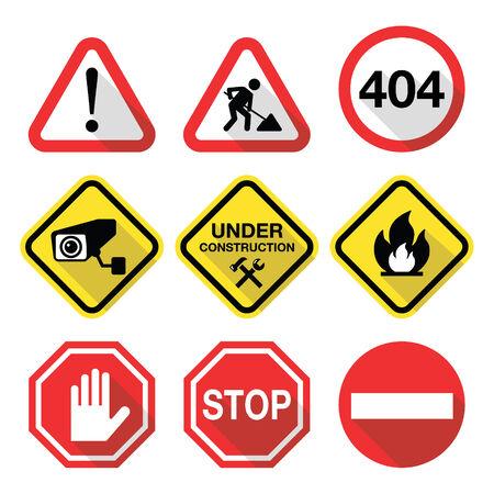 Warning signs - danger, risk, stress - flat design Vector