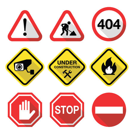 under construction sign with man: Warning signs - danger, risk, stress - flat design