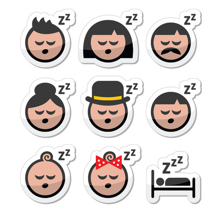 woman lying in bed: Sleeping, dreaming people faces icons set