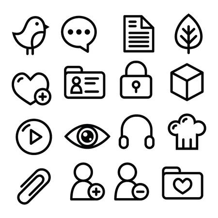 Website menu navigation line icons - social media, blog, web page Vector