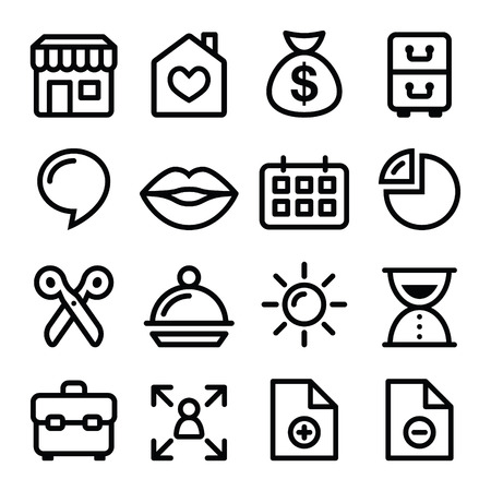 Website menu navigation line icons - online shop, web page Illustration