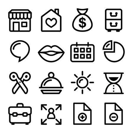 Website menunavigatie lijn iconen - online shop, webpagina
