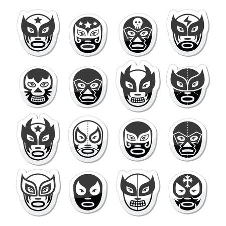 trajes mexicanos: Lucha libre, luchador de lucha libre mexicana negras m�scaras iconos