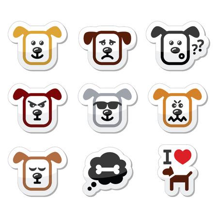 happy sad: Icone del cane set - felice, triste, arrabbiato isolato su bianco Vettoriali