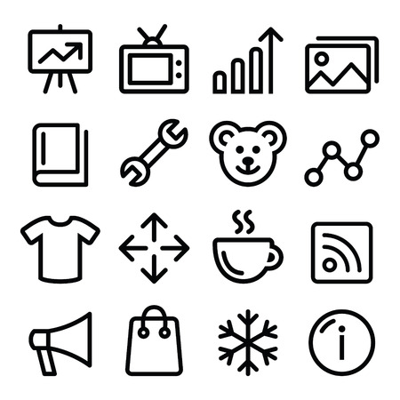 line up: Web menu navigation line icons set - photo gallery, online store