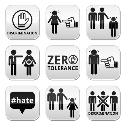 sex discrimination: Stop discrimination of men, and women buttons set Illustration