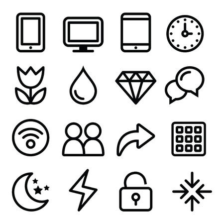 time account: Web menu navigation line icons set - electronic devices