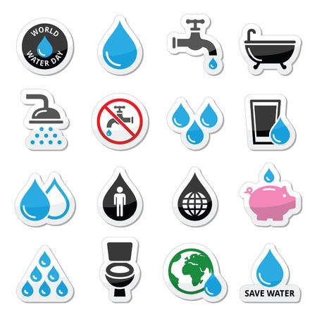 vasos de agua: Iconos del D�a Mundial del Agua - ecolog�a, concepto verde