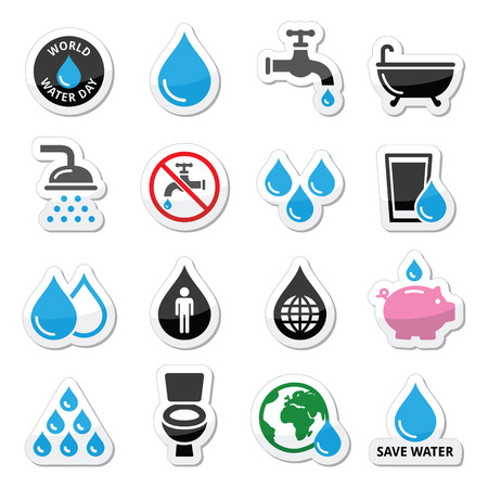 man drinking water: World Water Day icons - ecology, green concept Illustration
