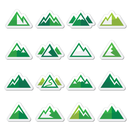 mountain peek: Mountain vector green icons set
