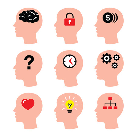 Head, man thoughts, brain icons set Vector