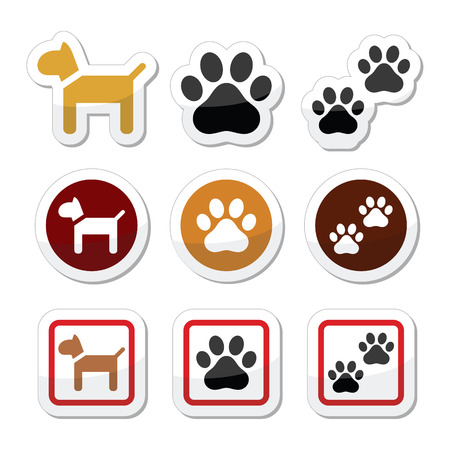 mongrel: Dog, paw prints icons set