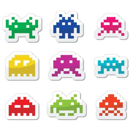 invaders: Space invaders, establecen extranjeros 8bit iconos