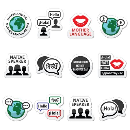 russian man: International Mother Language Day icons set