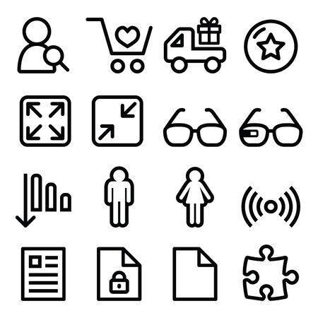 attachments: Web menu navigation line icons set - shopping, document Illustration