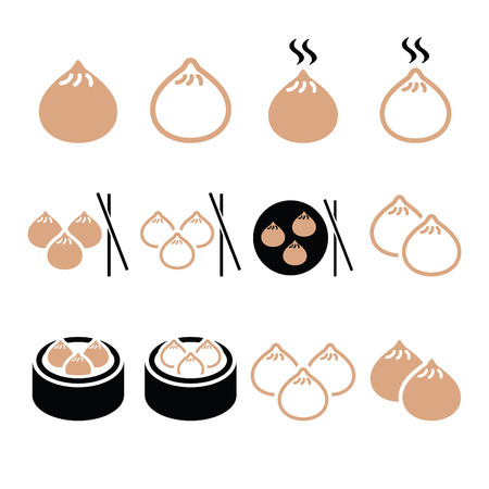 Chinese dumplings, Asian food Dim Sum vector icons set Illustration