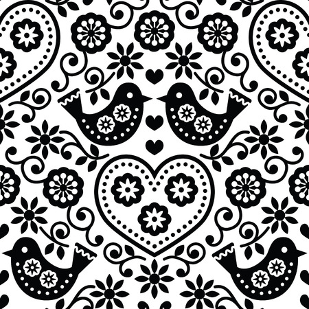 folk tales: Folk art seamless monochrome pattern with flowers and birds