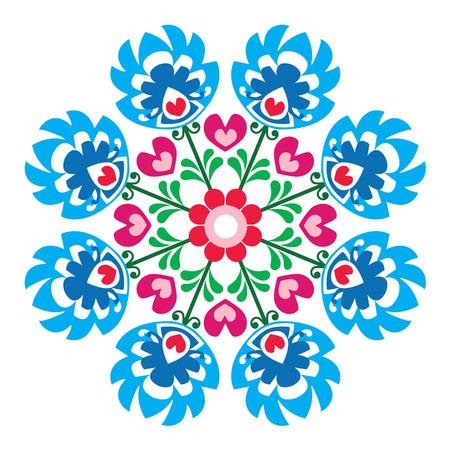 slavic: Polish round folk art pattern - Wzory Lowickie, Wycinanka
