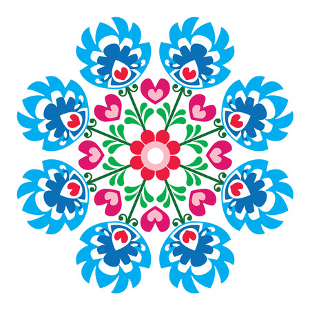Polish round folk art pattern - Wzory Lowickie, Wycinanka