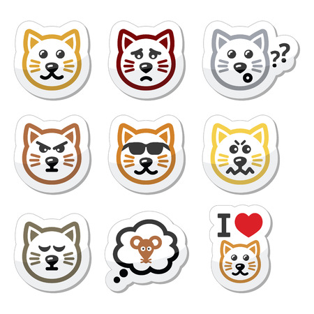 cool off: cat labels set - happy, sad, angry isolated on white