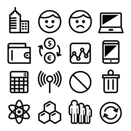 sad face: Web menu internet line, stroke icons set - tech, application Illustration