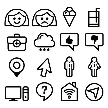 Website menu line, stroke icons set - user, computer, app Vector