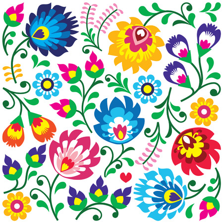 embroidery fashion: Floral Polish folk art pattern in square - Wzory Lowickie, Wycinanki Illustration