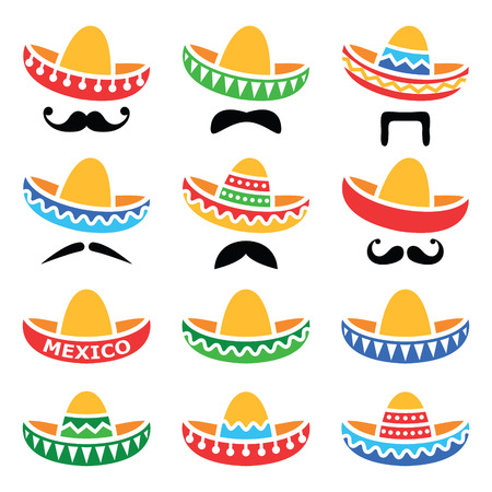 cancun: Mexican Sombrero hat with moustache or mustache icons