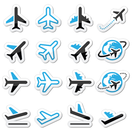 check out: Plane, flight, airport  black and blue icons set Illustration