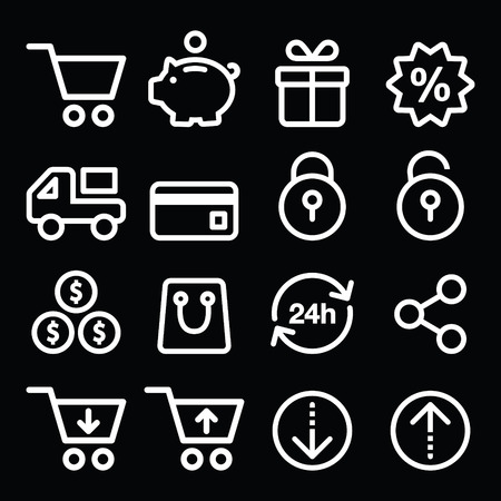 Shopping, online store white icons on black - line, stroke style Vector