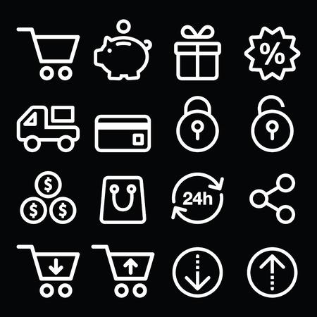 Shopping, online store white icons on black - line, stroke style Illustration