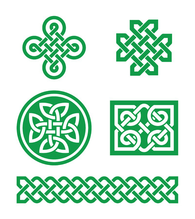 english countryside: Celtic knots, braid patterns - St Patricks