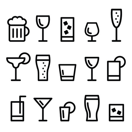 Drink alcohol beverage vector line icons set Çizim