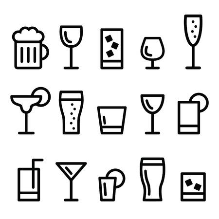 alcool: Icônes de lignes vecteur de boissons boire de l'alcool fixé Illustration