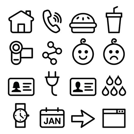the phone rings: Website, application vector line icons set Illustration