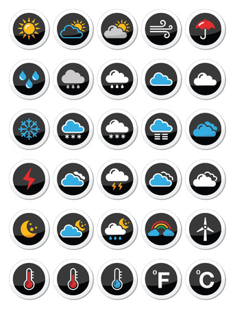 Weather round vector icons set Vector
