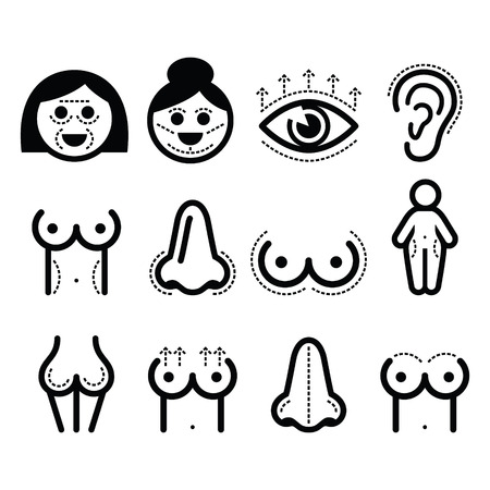 breast implant: Plastic surgery, beauty vector icons set